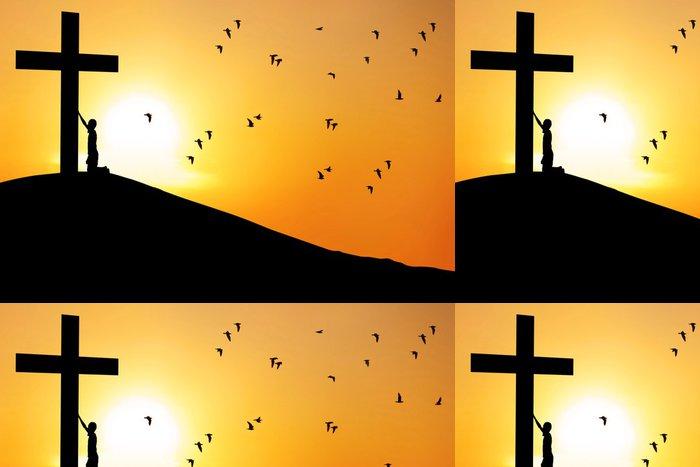Tapeta Pixerstick Muž uctívají kříž - Náboženství