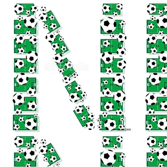Tapeta Pixerstick N, abeceda fotbal dopisy z fotbalových míčů a polí - Týmové sporty
