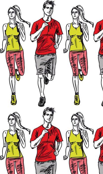 Vinylová Tapeta Náčrt pár běžci maratónu. Vektorové ilustrace - Individuální sporty