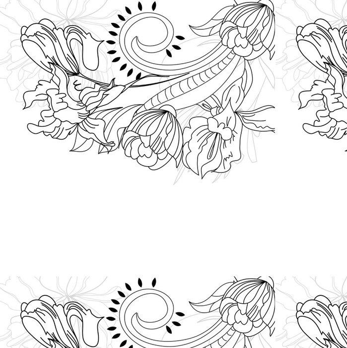 Vinylová Tapeta Náčrtek s květinami - Pozadí