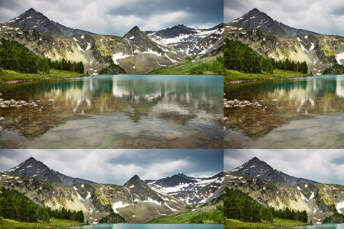 Tapeta Pixerstick Nádherné jezero v pohoří Altaj - Hory
