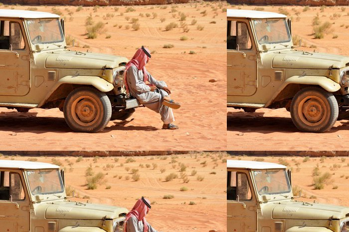 Tapeta Pixerstick Nastavení Bedouin v džípu, pouštní safari v Wadi Rum, Jordánsko - Střední Východ