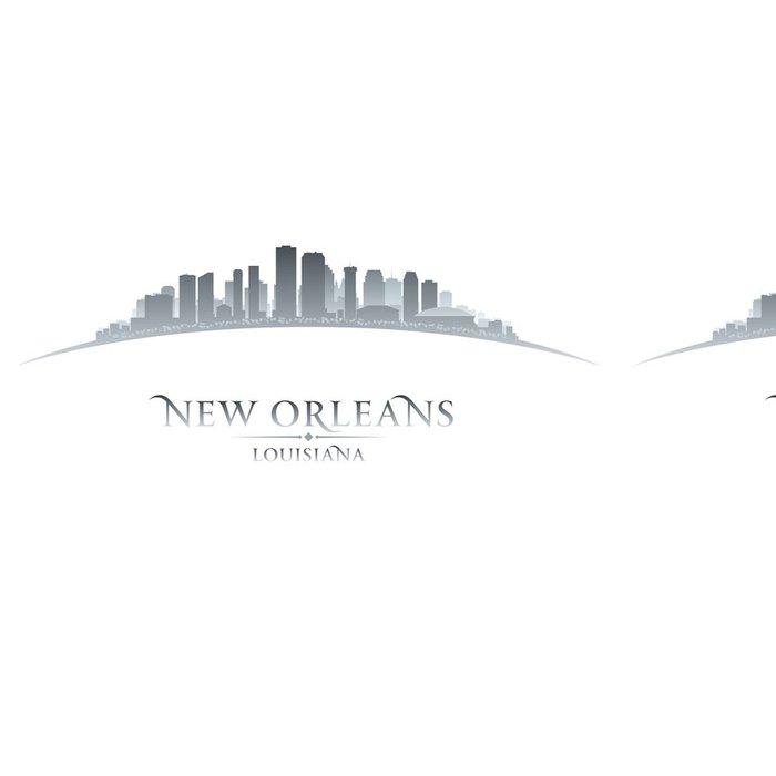 Vinylová Tapeta New Orleans Louisiana panorama města silueta bílém pozadí - Amerika