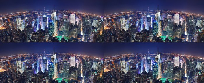 Tapeta Pixerstick NEW YORK CITY NIGHT PANORAMA - Amerika