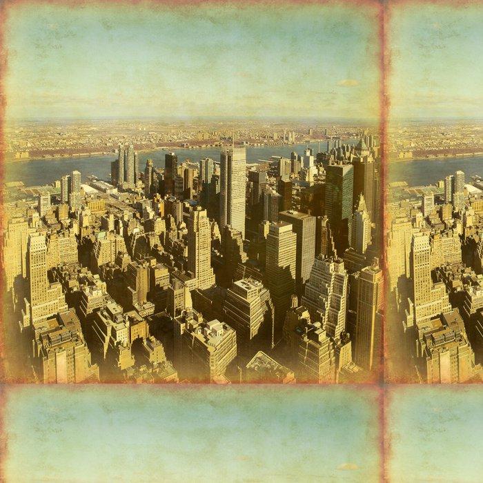 Tapeta Pixerstick New York Manhattan letecký pohled. Grunge a retro styl. - Americká města