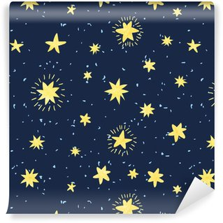 Vinylová Tapeta Noční obloha bezproblémové vzorek. vektorové pozadí s ručně kreslenými akvarelovými hvězdami.