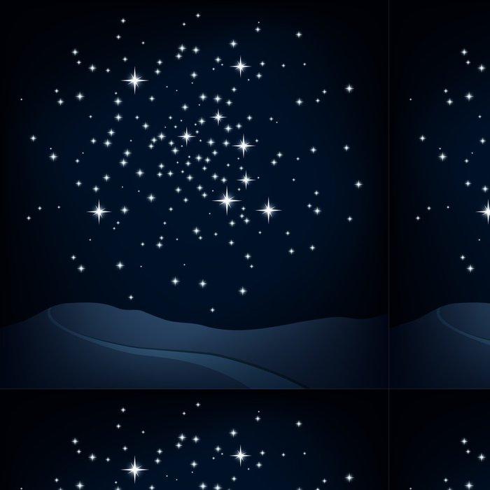 Tapeta Pixerstick Noční scéna, hvězdokupa nad kopci a cesta, vektor - Meziplanetární prostor