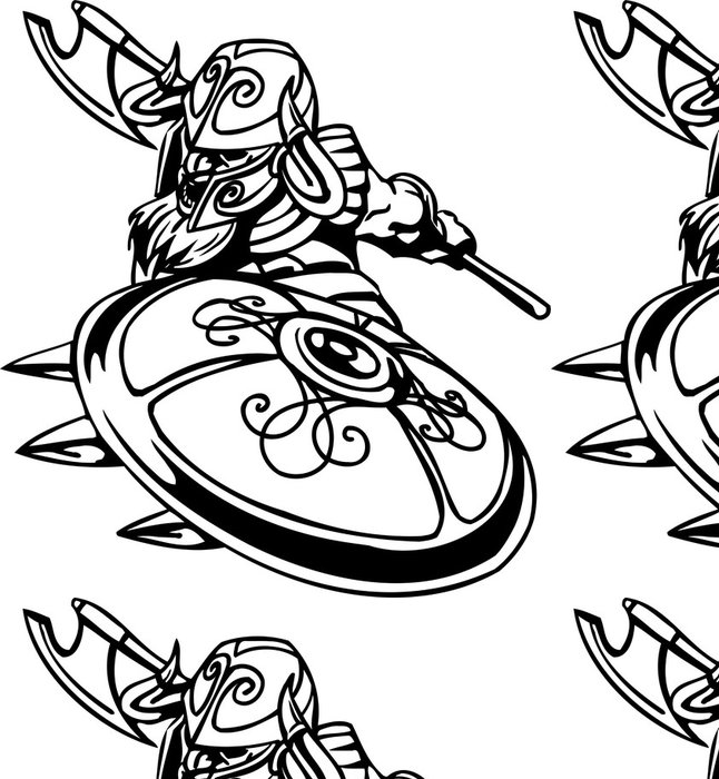 Tapeta Pixerstick Nordic viking - černá bílá vektorové ilustrace. Vinyl-ready. - Zlost