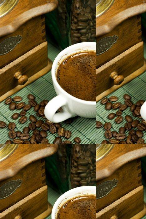Vinylová Tapeta Nostalgie mlýnek na kávu, černá káva s kávové zrno - Témata