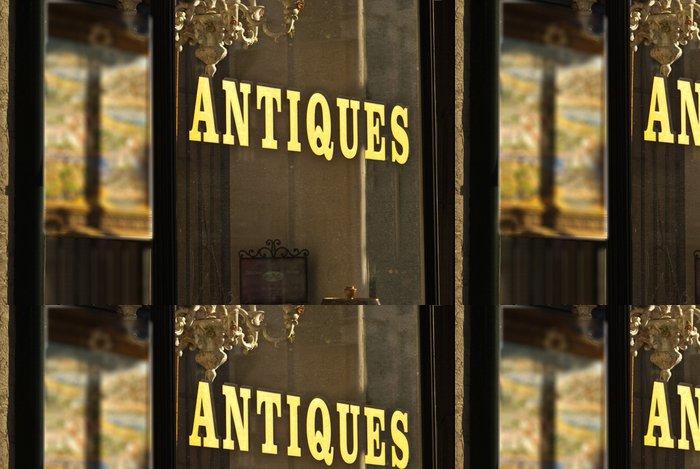 Tapeta Pixerstick Obchod se starožitnostmi okno znamení wilth zlatým písmem - Prodej