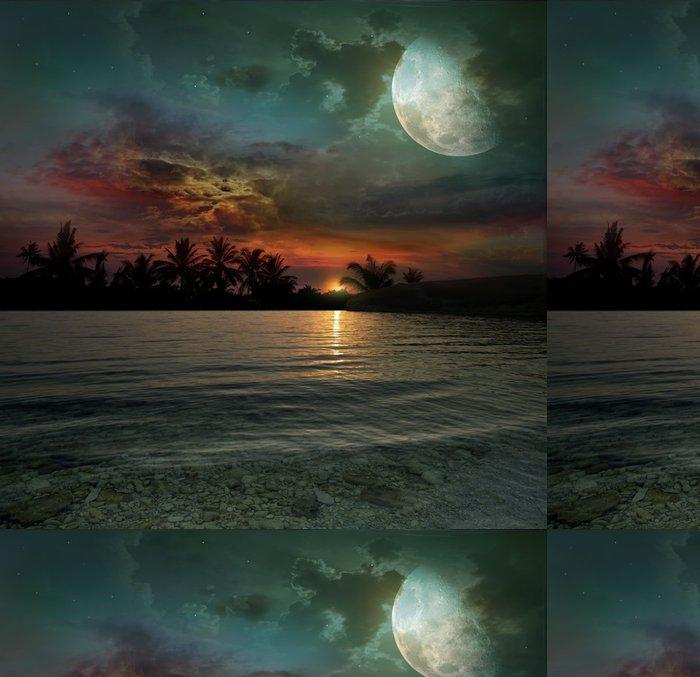 Vinylová Tapeta Oceán, slunce a měsíc - Palmy