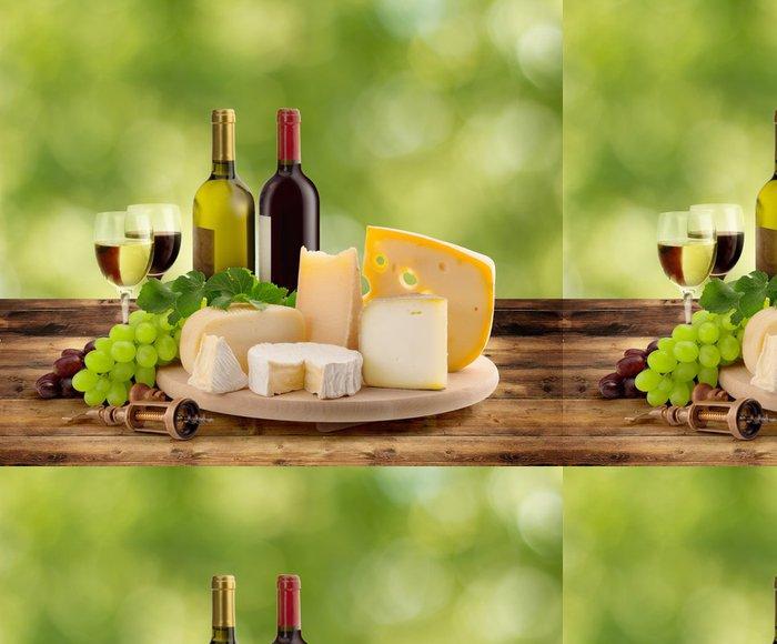 Tapeta Pixerstick Ochutnávky vína a sýrů v přírodě - Sýry
