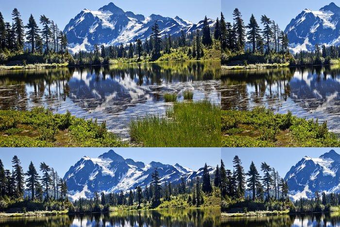 Tapeta Pixerstick Odraz stát Lake Mount Shuksan Washington - Extrémní sporty