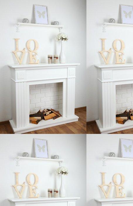 Tapeta Pixerstick Ohniště s krásnou výzdobou v pohodlném obývacím pokoji - Domov a zahrada