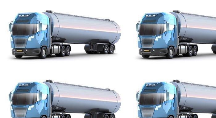 Tapeta Pixerstick Oil Tanker truck. Izolované 3D obrázek. Můj vlastní návrh - Na cestě