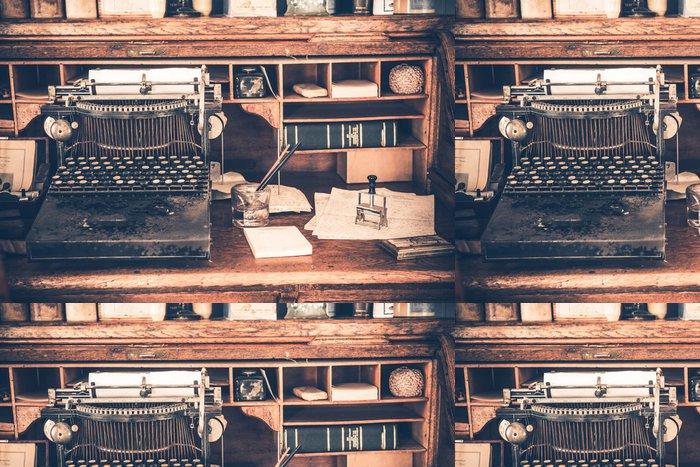 Vinylová Tapeta Old Desk Vintage psacího stroje - Domov a zahrada