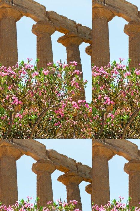 Tapeta Pixerstick Oleandr květina v blízkosti antických sloupů Dorian - Evropa