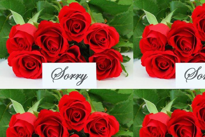 Vinylová Tapeta Omlouváme se karta s červenou růží - Květiny