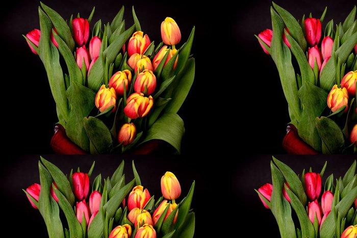 Tapeta Pixerstick Oranžová, žlutá, červená Tulipány - Květiny
