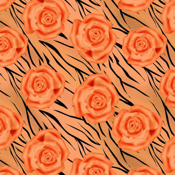 Tapeta Pixerstick Oranžové růže na tygra divoké kůže kůže bezproblémové vzor - Pozadí
