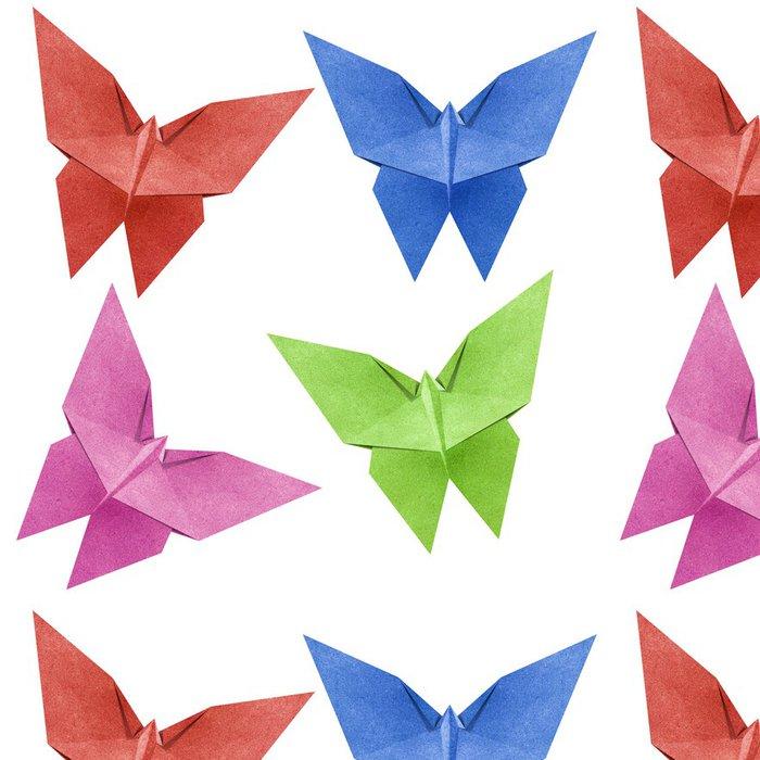 Tapeta Pixerstick Origami motýl Recycle Papercraft - Nálepka na stěny