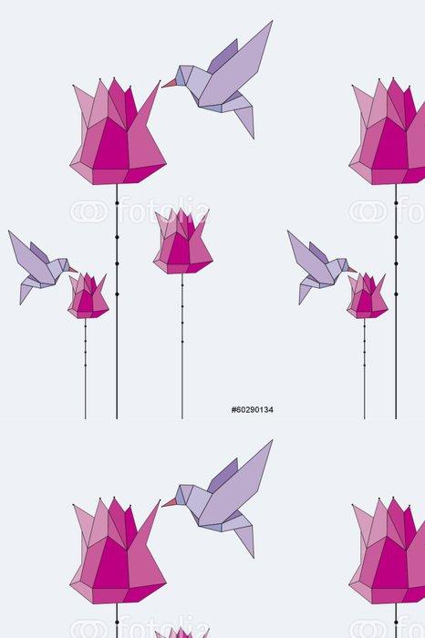 Vinylová Tapeta Origami_tulips_birds_pink_lila_07 - Roční období