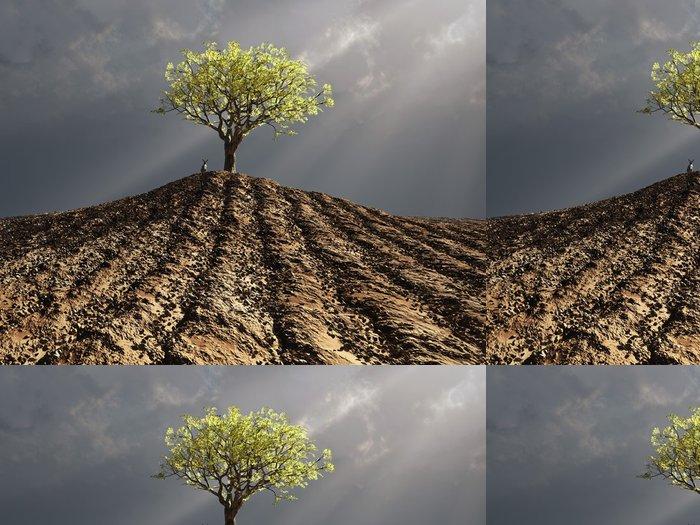 Tapeta Pixerstick Osamělý strom uprostřed zorané pole - Zemědělství
