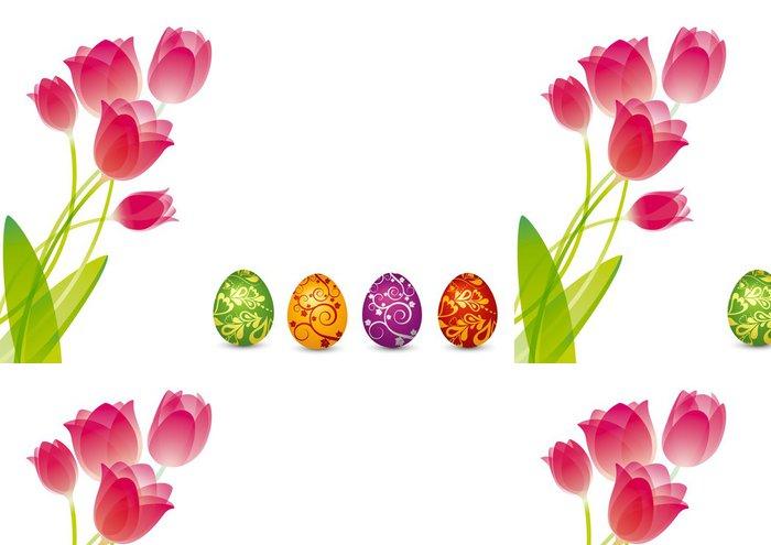 Tapeta Pixerstick Ostereier mit Tulpen - Velikonoce - Mezinárodní svátky
