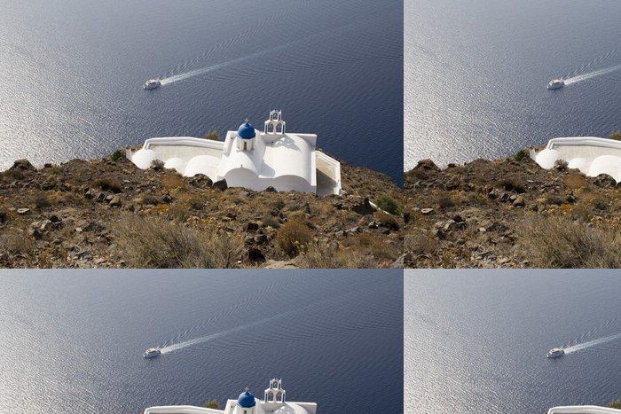 Tapeta Pixerstick Ostrov Santorini, kostel na hoře - Náboženství