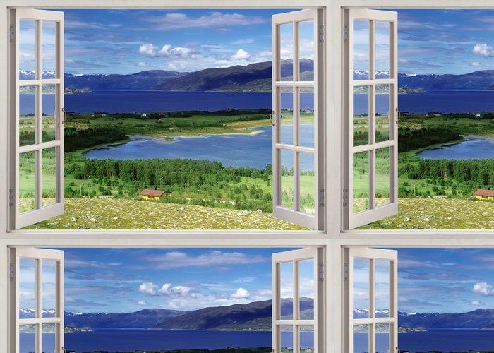 Tapeta Pixerstick Otevřené okno výhled na krajinu s řekou, kopců a polí - Témata