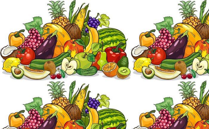Vinylová Tapeta Ovoce a zelenina skupina kreslené ilustrace - Nálepka na stěny