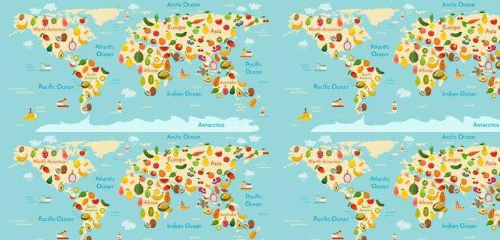 Tapeta Pixerstick Ovoce mapa světa. A zelenina. Vektorové ilustrace, školka, dítě, světadíly, oceány, čerpané, Země. - Jídlo