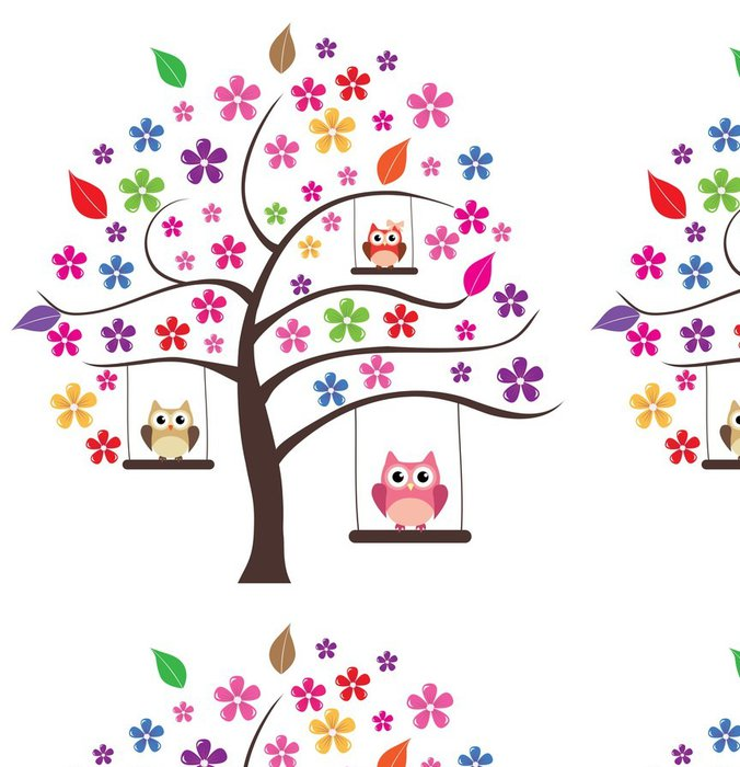 Tapeta Pixerstick Owl ve stromu - Stromy a listí