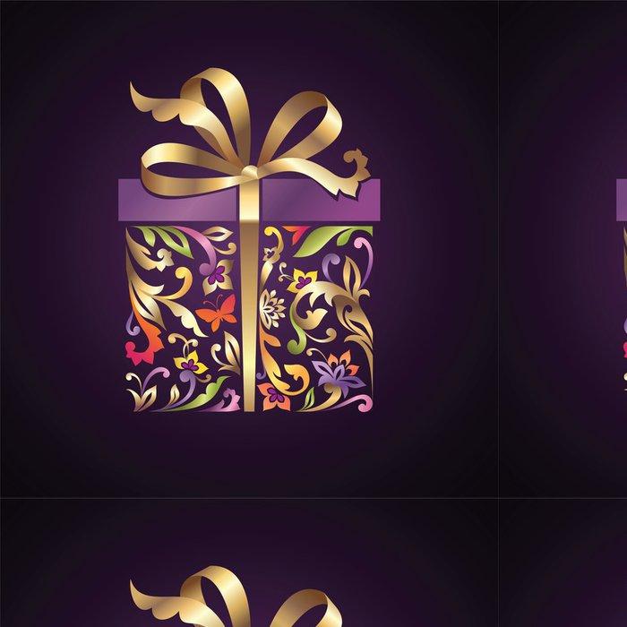 Tapeta Pixerstick Ozdobný, ozdobený, gif box se zlatou mašlí - Slavnosti