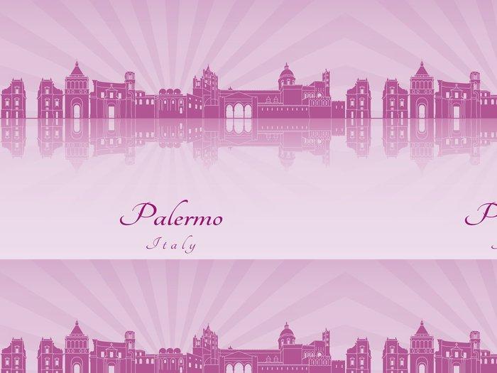 Vinylová Tapeta Palermo panorama ve fialové zářivé orchideje - Evropa