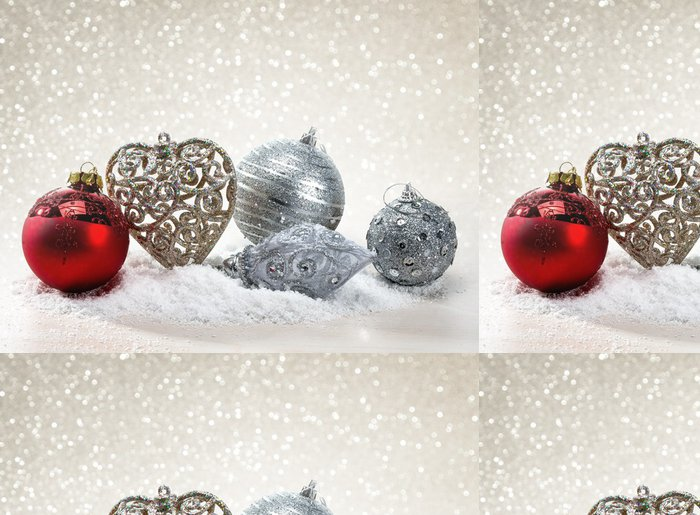 Vinylová Tapeta Palle di Natale con neve - Mezinárodní svátky