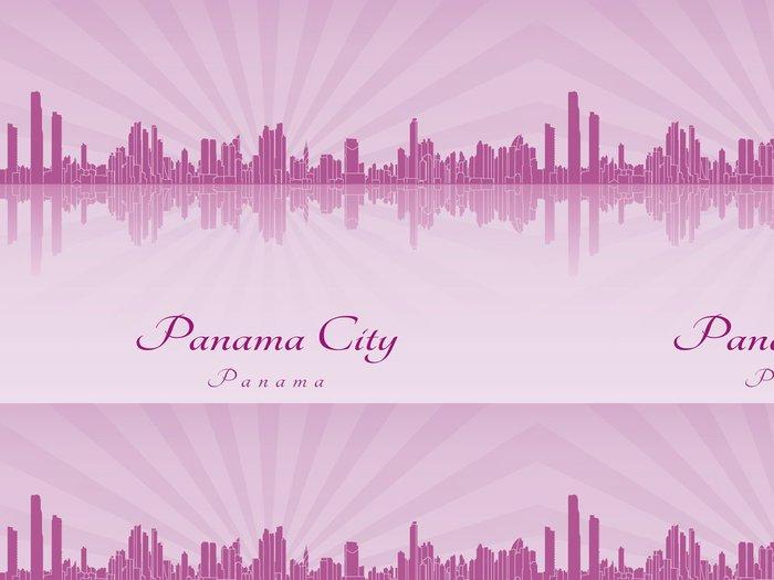 Tapeta Pixerstick Panama City panorama ve fialové zářivé orchideje - Amerika