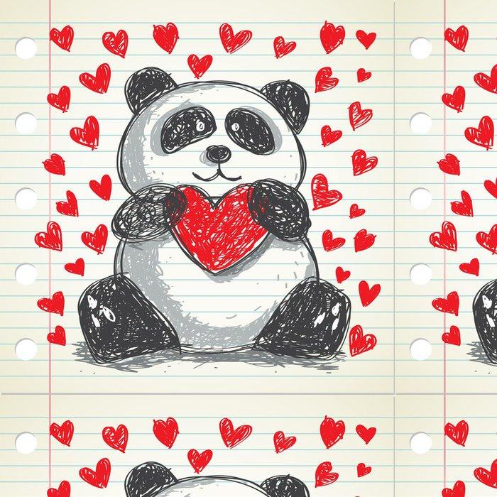 Vinylová Tapeta Panda doodle, vhodné pro den svatého Valentýna - Mezinárodní svátky