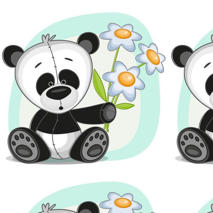 Tapeta Pixerstick Panda s květinami - Nálepka na stěny