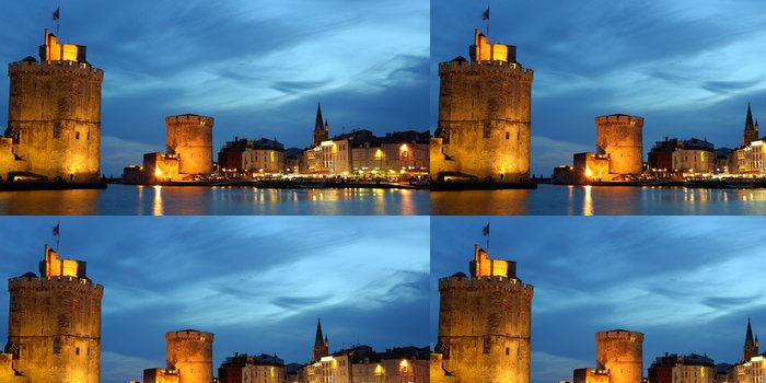 Tapeta Pixerstick Panorama de la Rochelle la nuit. - Prázdniny