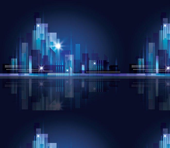 Tapeta Pixerstick Panorama města v noci - Město
