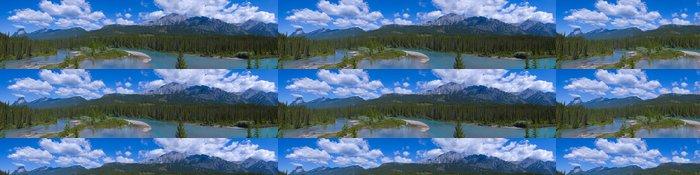 Tapeta Pixerstick Panorama Shallow Crystal Blue Mountain River ve městě Banff - Hory