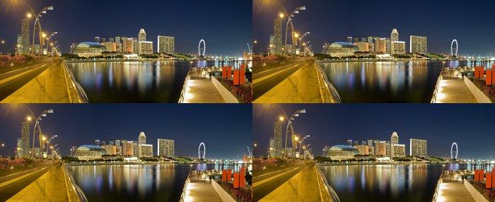 Tapeta Pixerstick Panoramatický výhled na Singapore City Večerní Skyline - Asijská města
