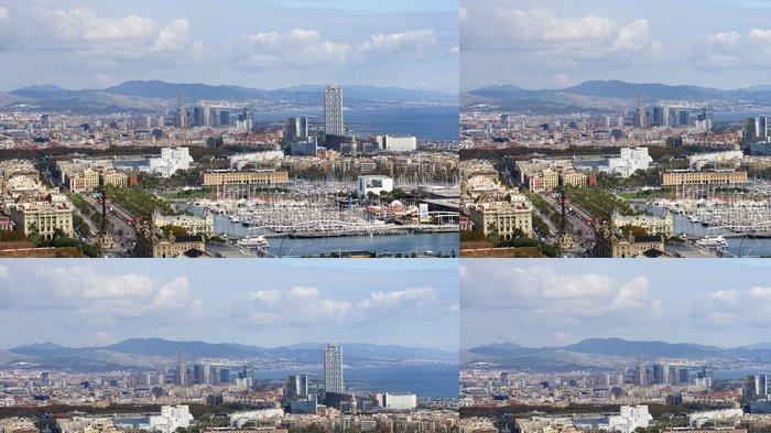 Tapeta Pixerstick Panoramica del Puerto de Barcelona - Témata