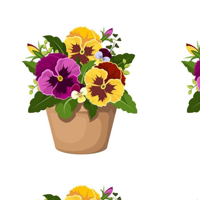 Vinylová Tapeta Pansy květiny v květináči. Vektorové ilustrace. - Květiny