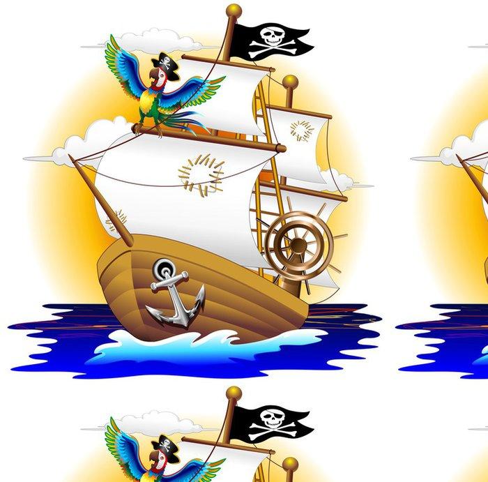 Tapeta Pixerstick Pappagallo Pirátská loď s Pirátská loď, a Cartoon papoušek - Lodě