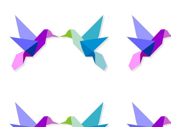 Vinylová Tapeta Pár barevných origami kolibřík - Ptáci