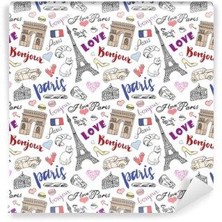 Vinylová Tapeta Paris bezešvé vzor s ručně kreslenými náčrtek prvky - eiffel tower triumf oblouk, módní předměty. kreslení doodle vektorové ilustrace, izolovaných na bílém