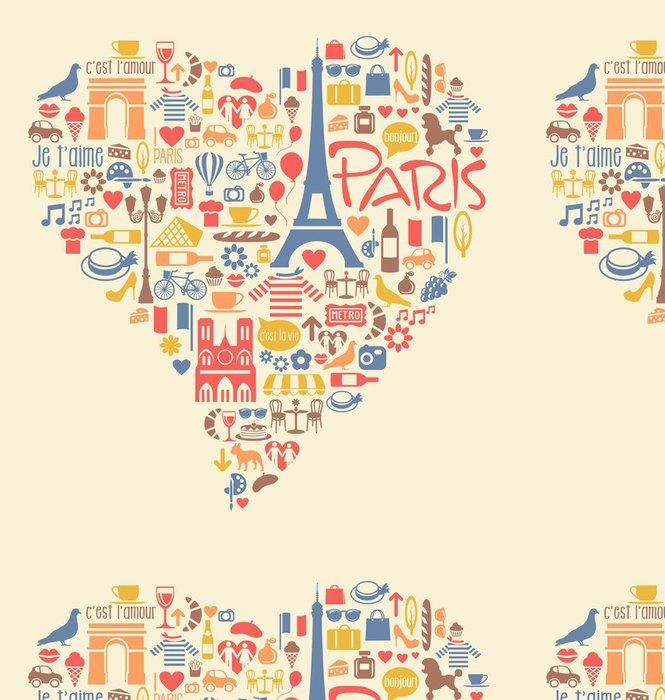 Tapeta Pixerstick Paříž Francie Ikony památky zajímavosti ve tvaru srdce - Evropa