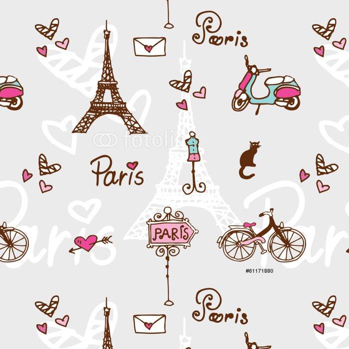 Tapeta Pixerstick Paříž symboly - doodle bezešvé vzor pro digitální papír - Mezinárodní svátky